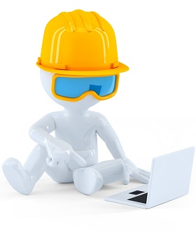 Construction worker using laptop computer. Isolated over white background